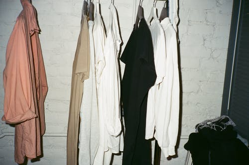 White Long Sleeve Shirt on Clothes Hanger