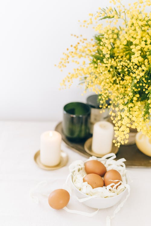 Brown Eggs on White Bowl