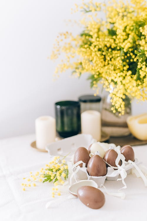 Brown Easter Eggs On White Table