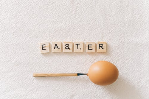 Easter Text On Brown Wooden Scrabble Tiles
