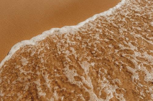 Sandy shore near foamy sea in daylight