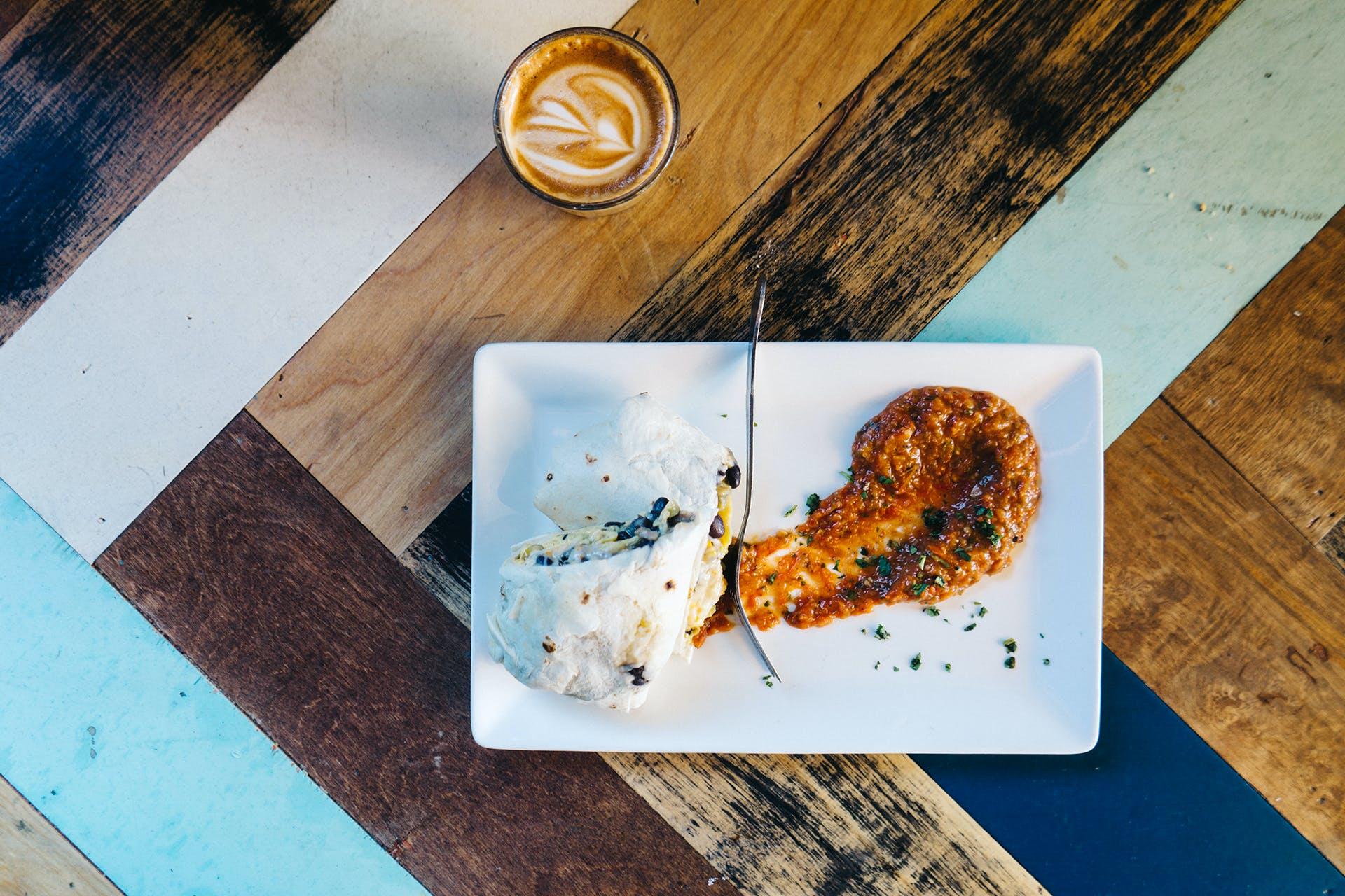 Free stock photo of food, coffee, lunch, burrito