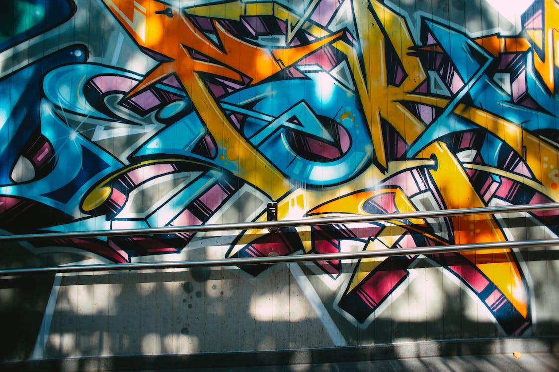 Yellow Red and Blue Graffiti