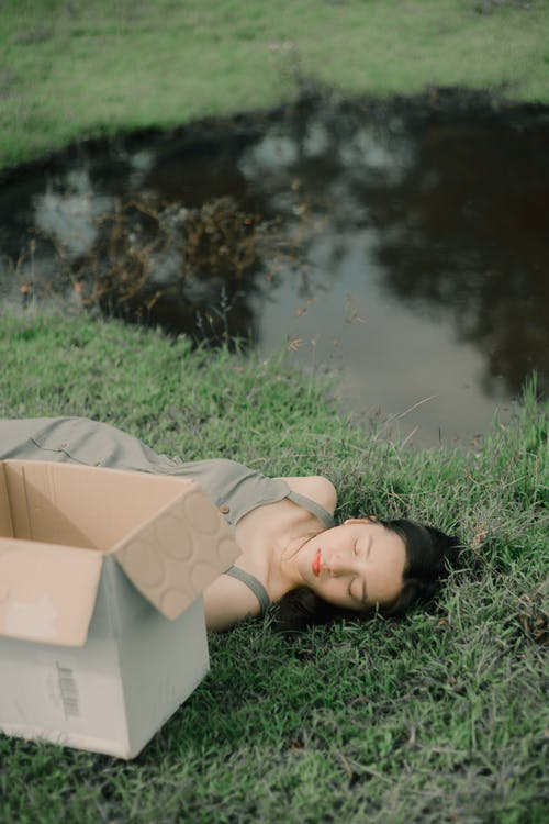 Young mindful female with closed eyes napping on meadow between carton box and pond reflecting trees