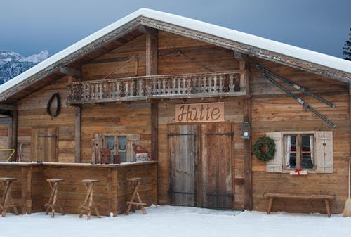 Brown Wooden Building With Snow Covered Ground