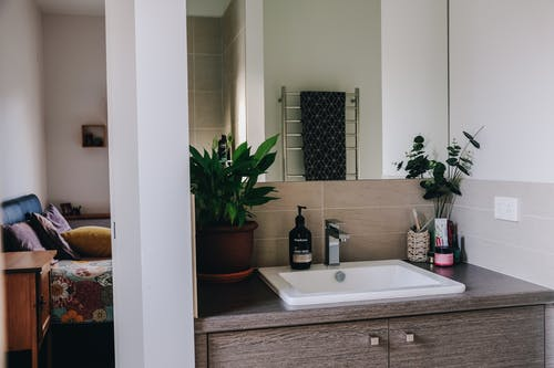 Interior of modern bathroom with mirror above white sink and wooden cabinet decorated with potted plants in apartment
