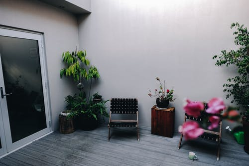 Comfortable chairs and small wooden table placed on house veranda decorated with various exotic potted plants in daylight