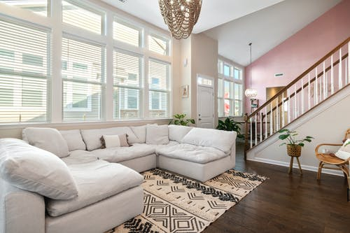 White Sectional Couch on Living Room