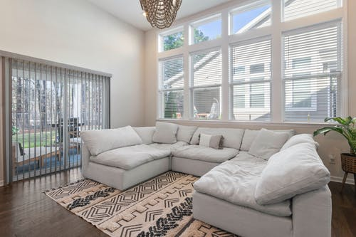 Living Room with White Sectional Sofa