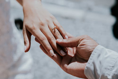 Anonymous newlywed couple showing wedding ring in daylight