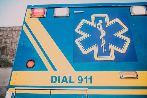 Blue and Yellow Ambulance
