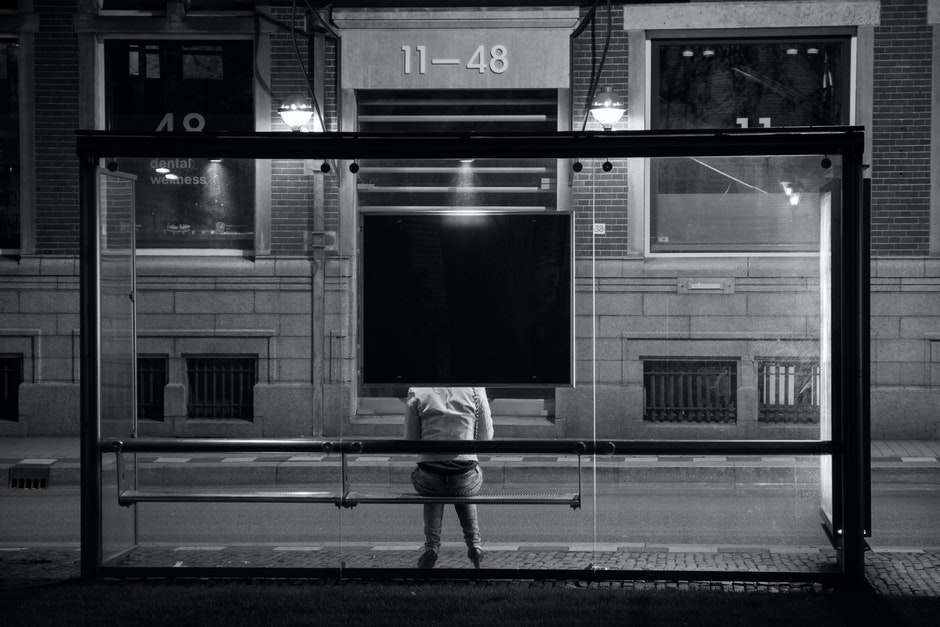 alone, back, black-and-white