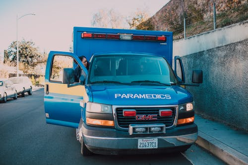 Ambulance Parked On Side Of A Road