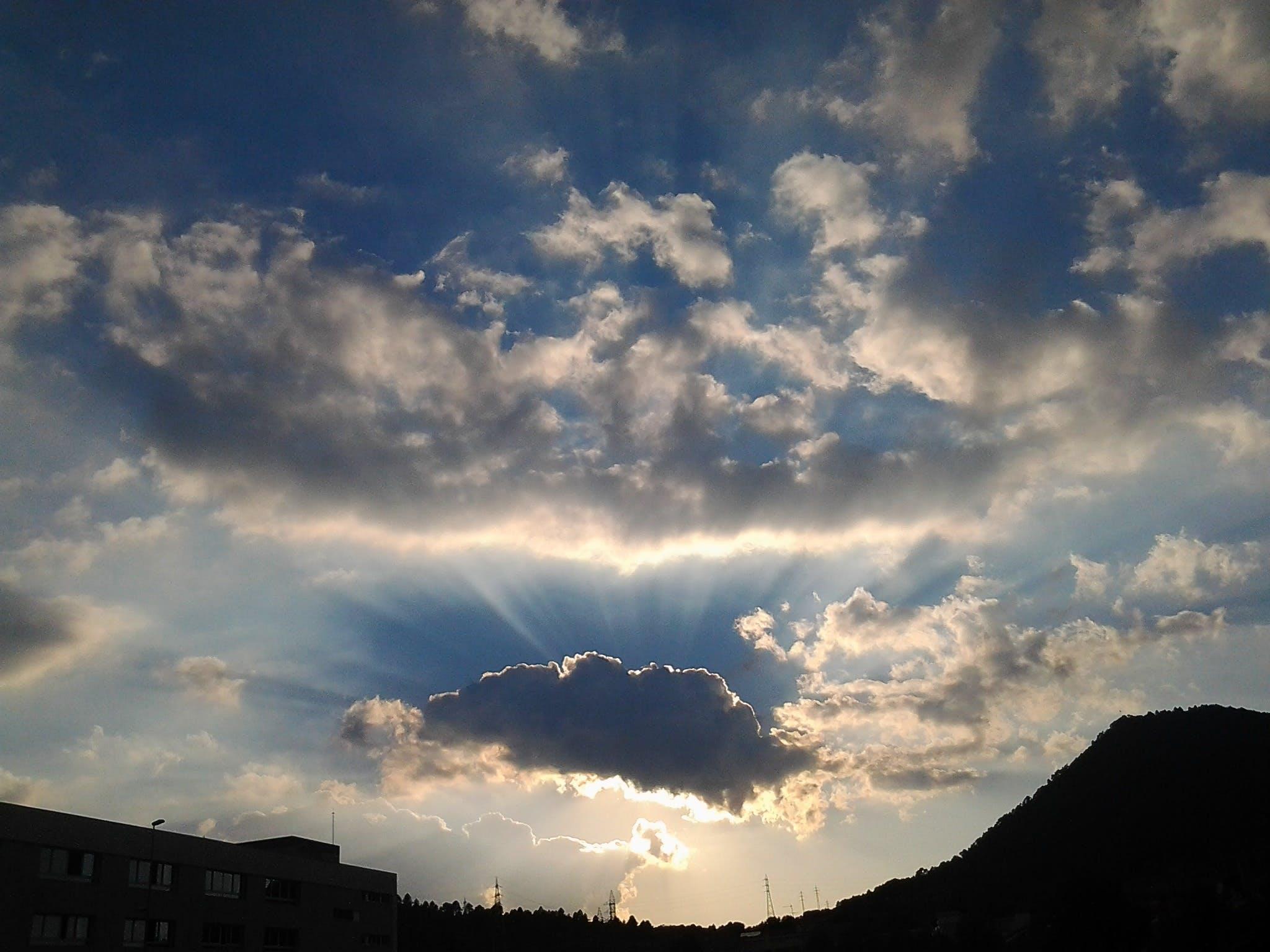 Free stock photo of sky, sunset, nuve