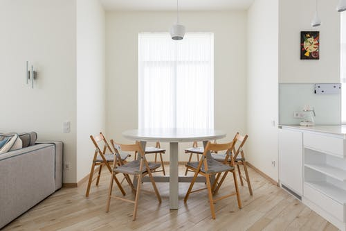 Table with chairs in apartment