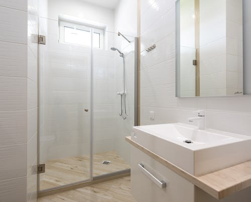 Interior of bathroom with shower cabin