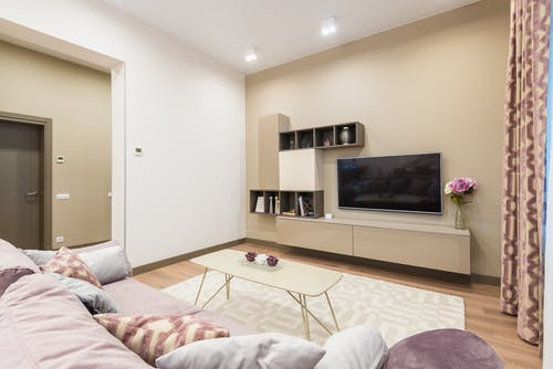 Soft couch and modern furniture with TV set in cozy apartment