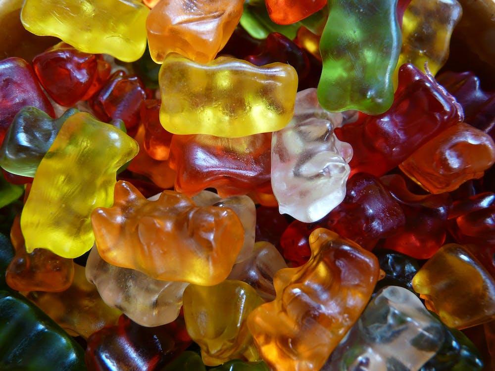 barevný, cukroví, gumoví medvídci