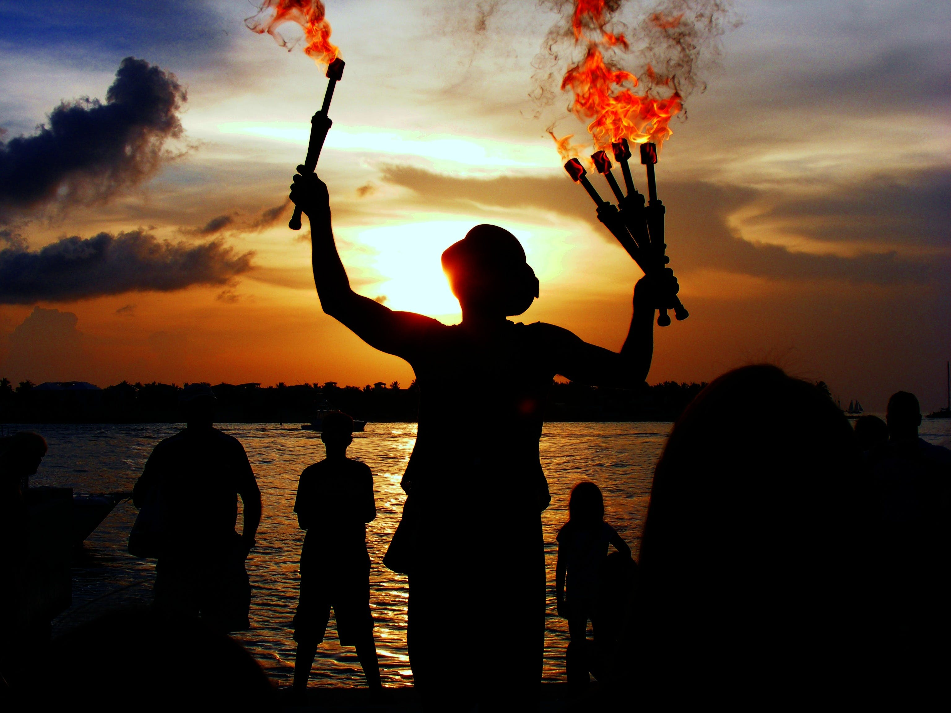 abend, feuer, jongleur