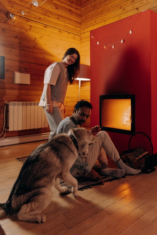 Couple Sitting Near Fireplace With Their Dog