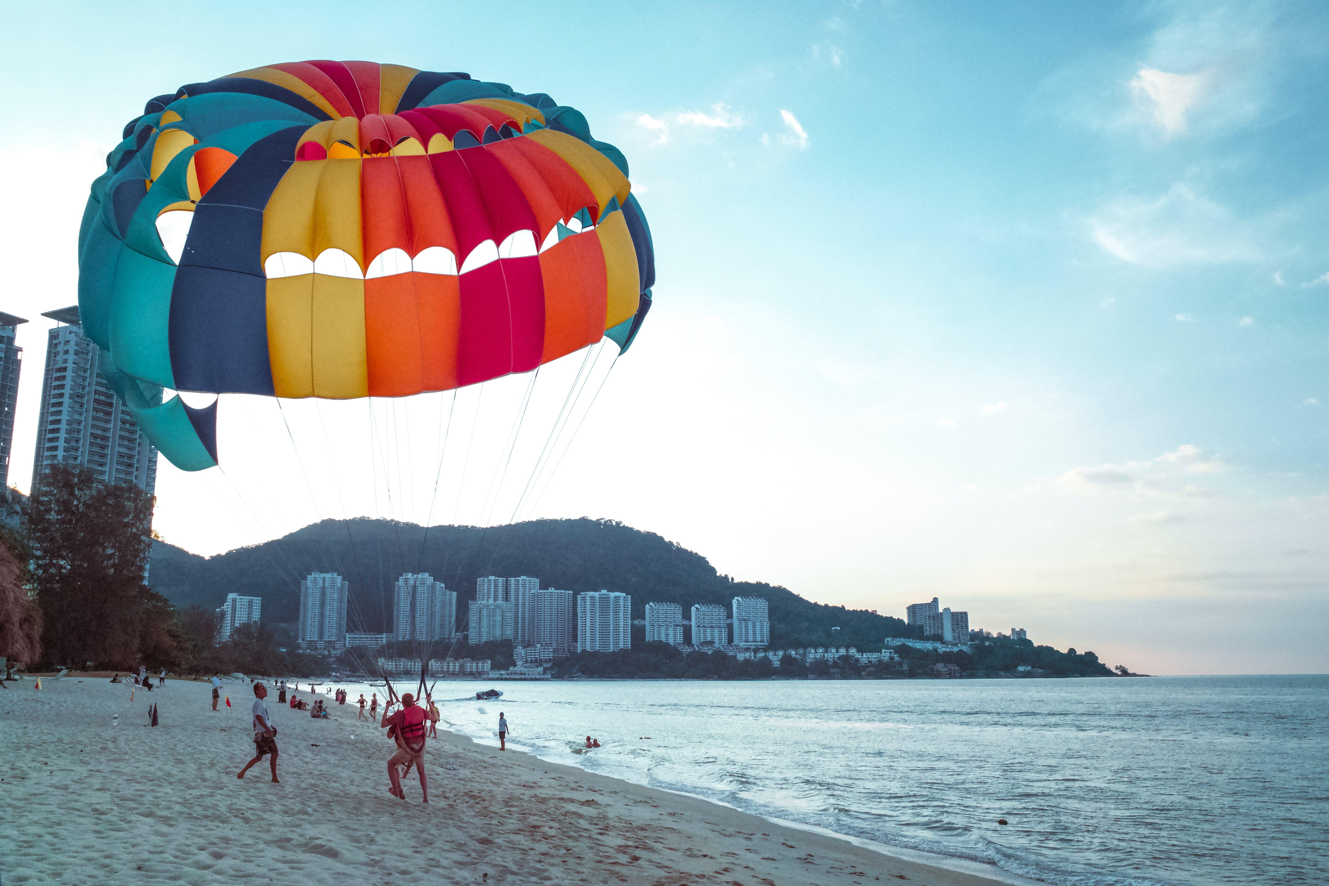 beach, coast, parachute