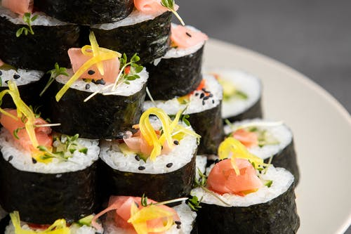 Slices of Sushi Maki on a Plate