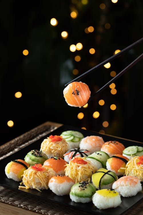 Orange and Green Fruit on Black Tray