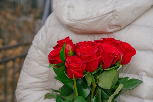 Anonymous person hiding bunch of fresh roses behind back