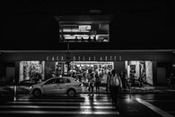 black-and-white, city, road