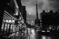 black-and-white, city, lights