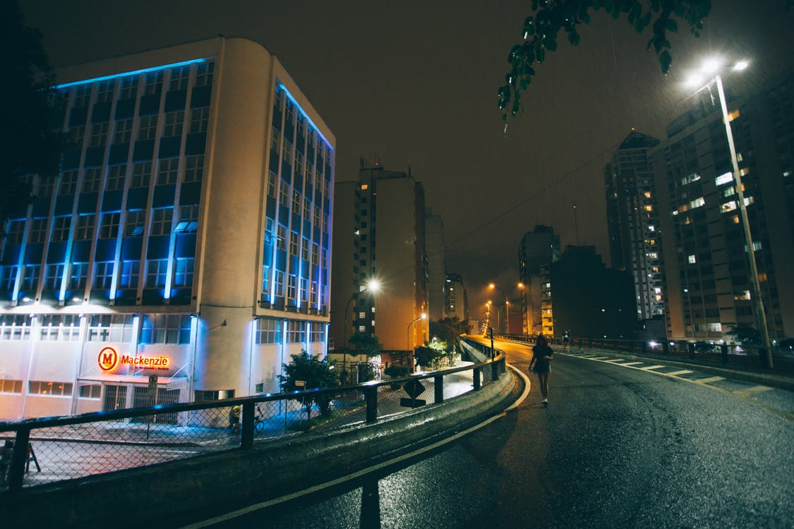 Night Street With Buildings