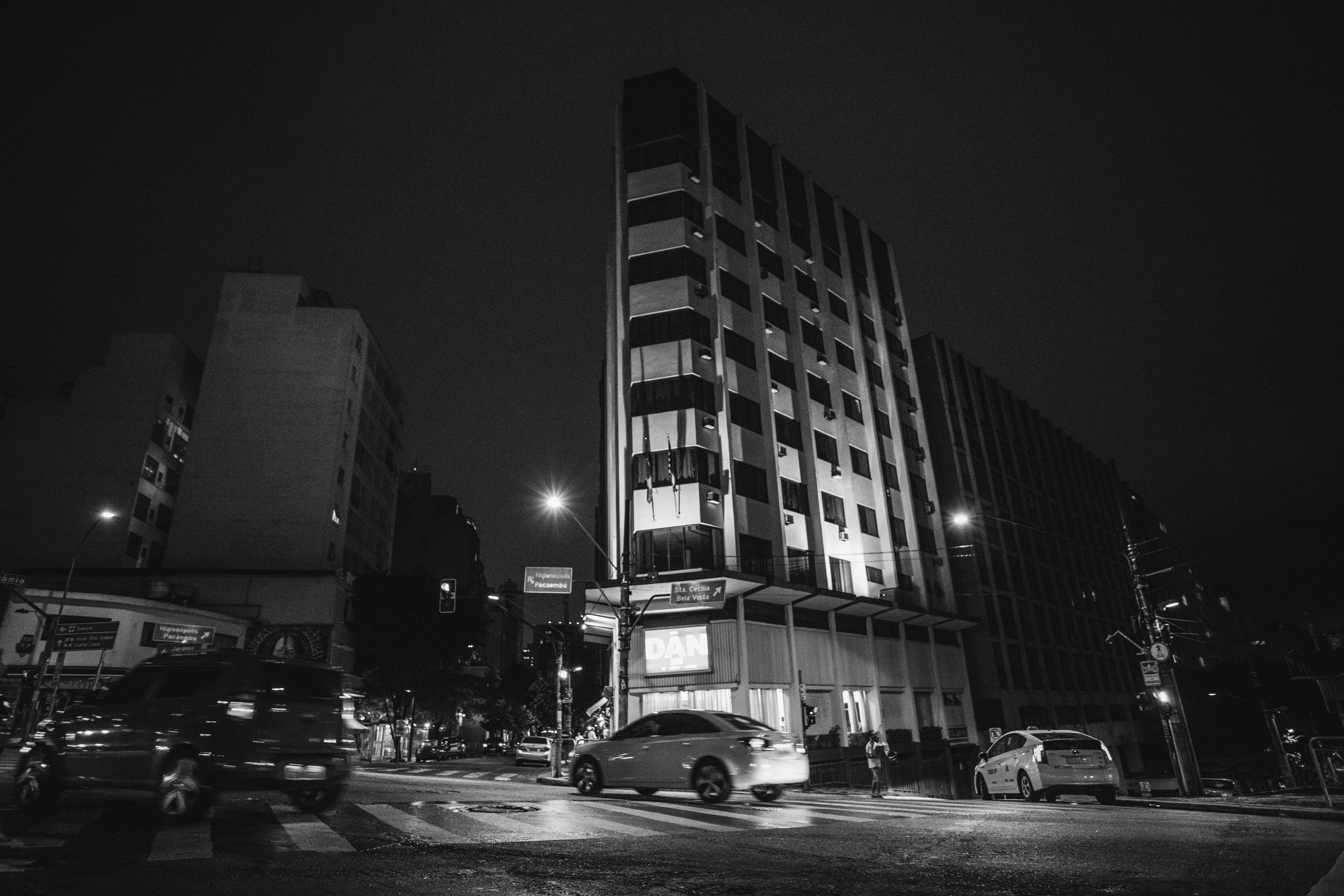 Grayscale Photography of Building and Street
