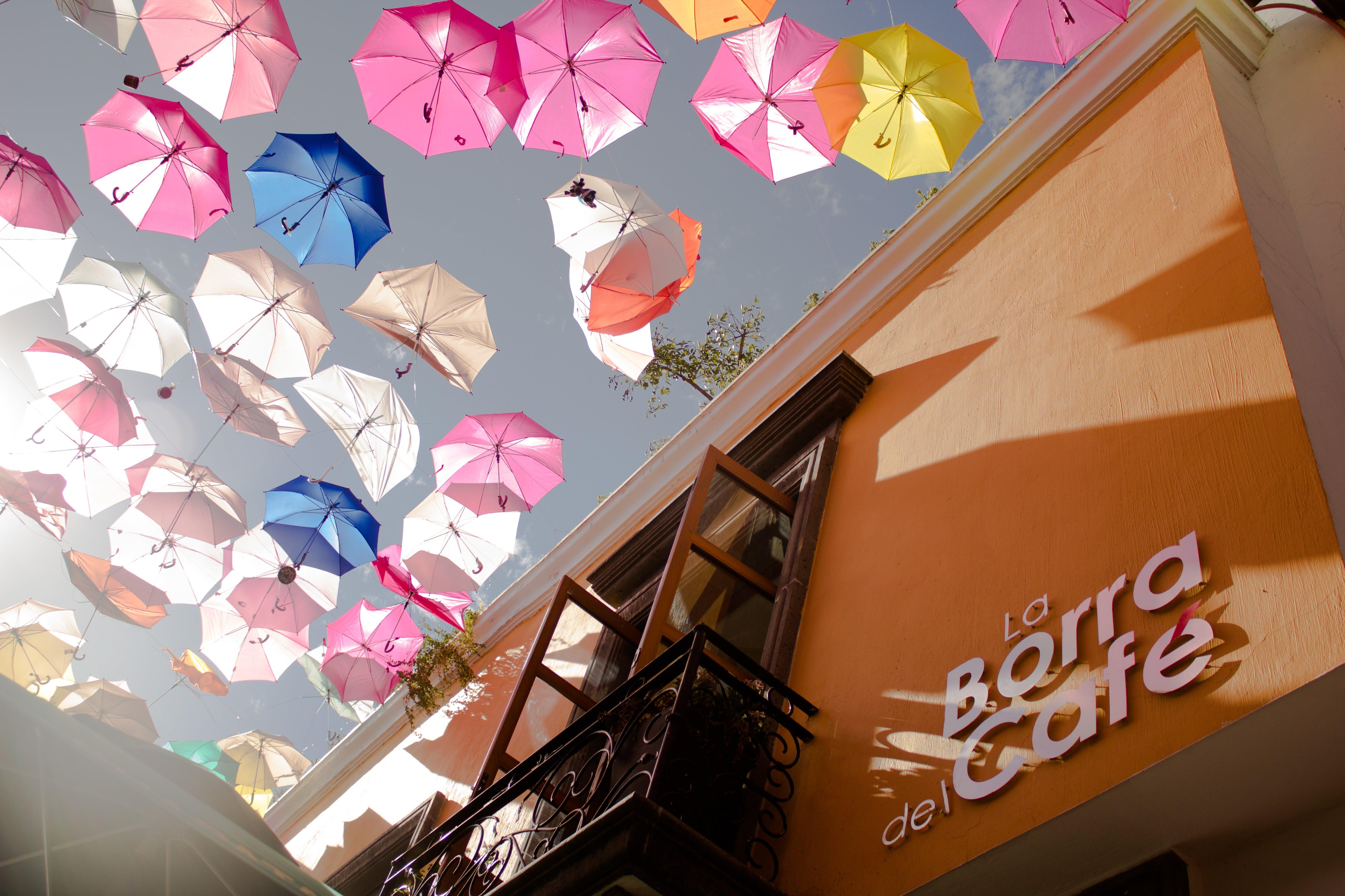 Fotobanka sbezplatnými fotkami na tému balkón, budova, dáždniky, farby