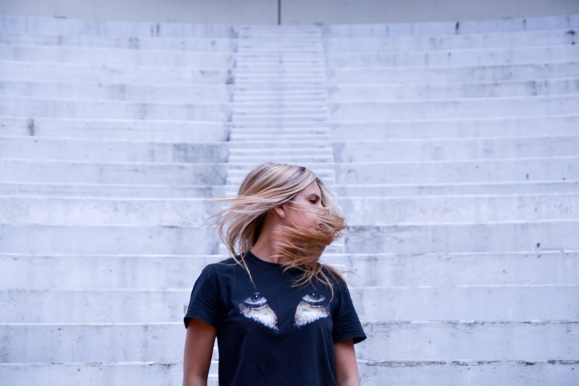 Woman Wearing Black Graphic Printed Crew-neck T-shirt