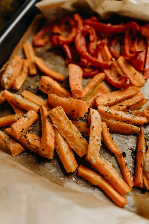 Baked Carrots and Bell Pepper on Baking Sheet