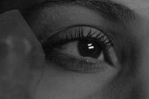 Grayscale Photo of Persons Eye
