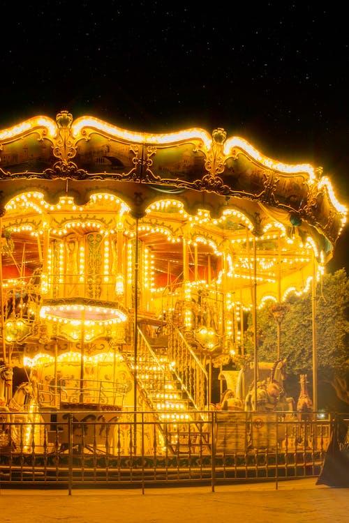 Free stock photo of amusement ride, carousel, dusk