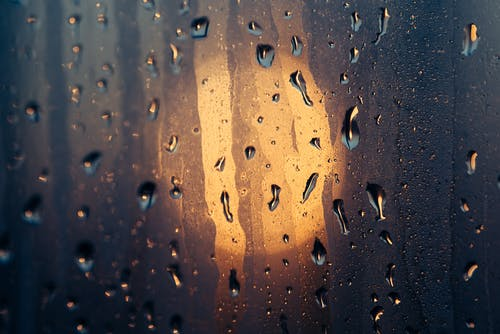 Water Droplets on Glass Window