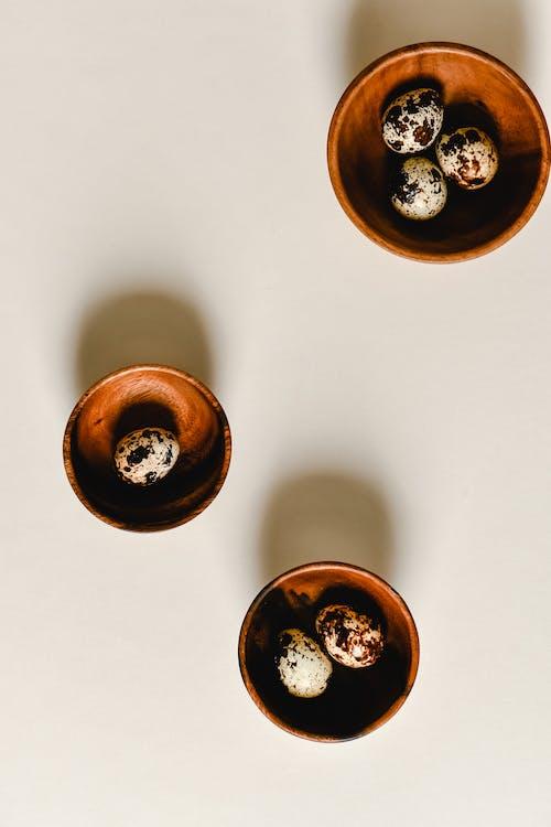 Six Round Brown Wooden Bowls