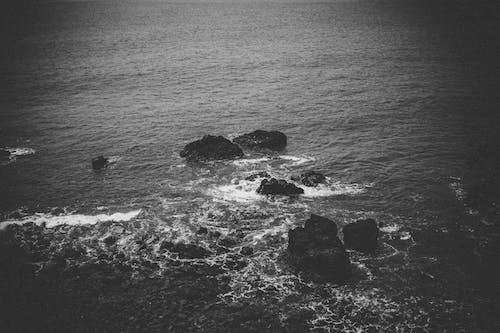 Free stock photo of black and white, cliff coast, noise