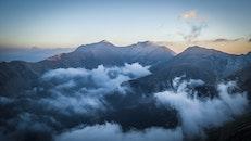 dawn, landscape, mountains