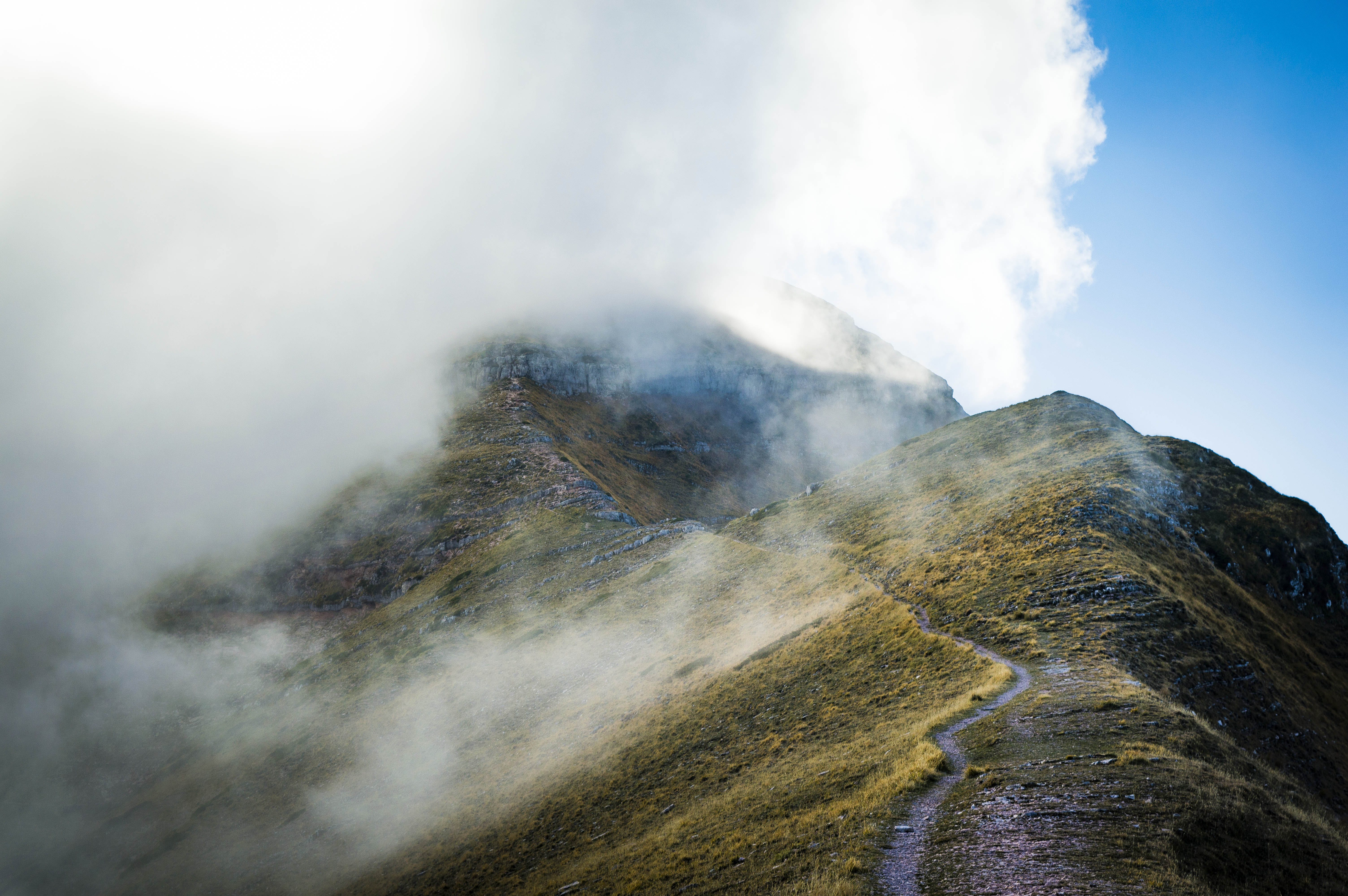 Cloud Covered Mountain Top on Landscape Photography