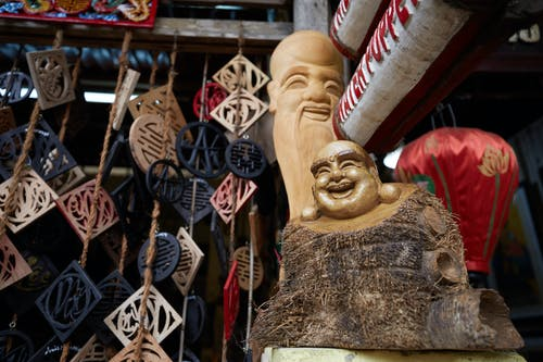 Traditional Buddha statuette on market