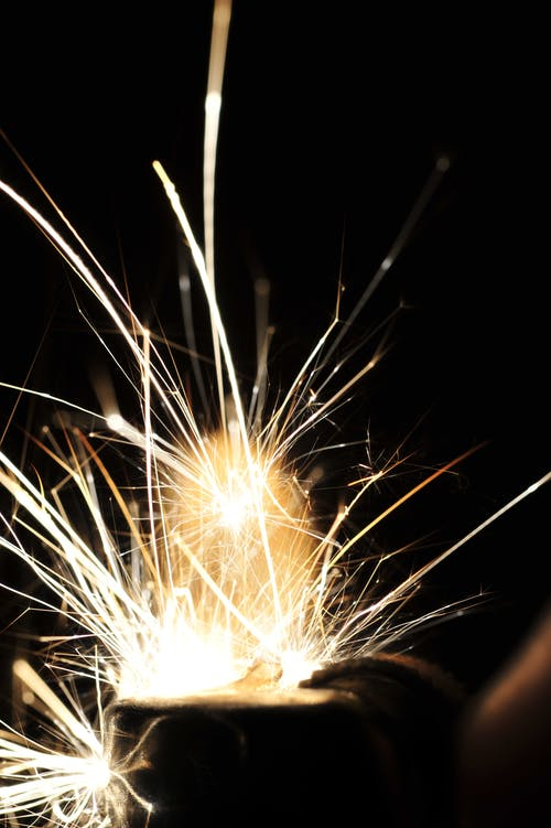 Sparks Flying in Dark Area