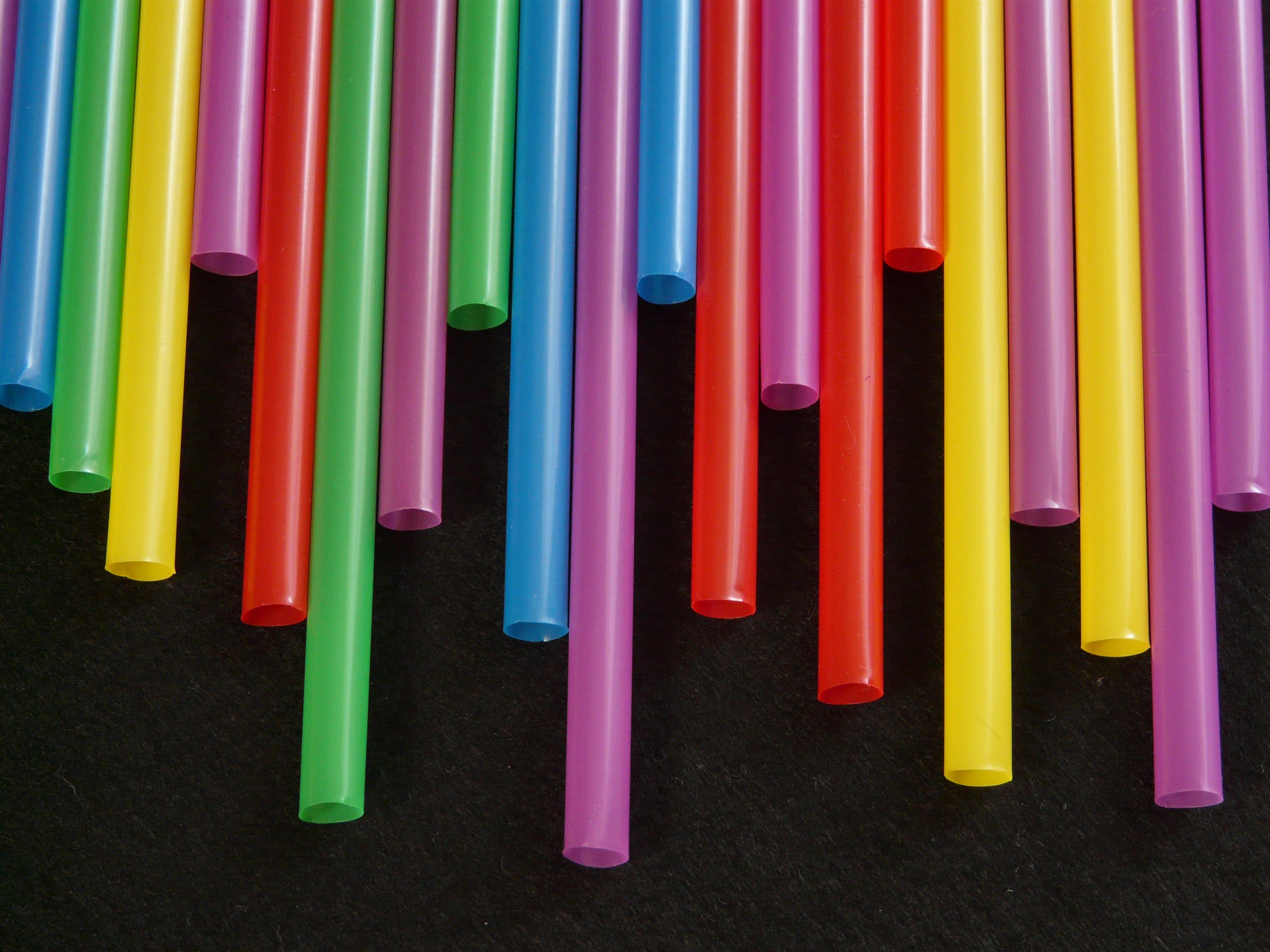 Free stock photo of colorful, colourful, plastic, drinking straws