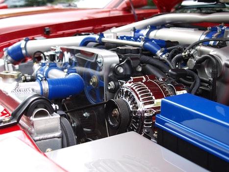 Blue Silver Black Car Engine