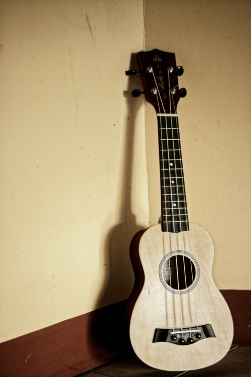 Modern classic acoustic ukulele placed in corner on light room against beige wall