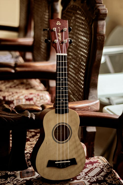 Modern acoustic ukulele guitar with light beige body placed on wooden chair in light room