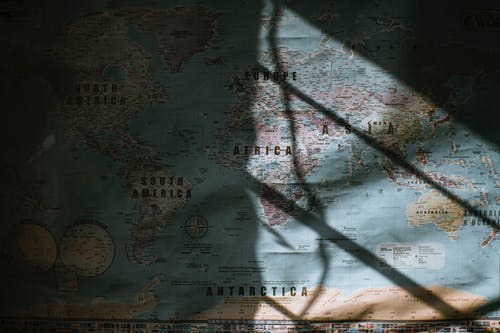 Old world map placed on wall