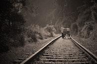 people, walking, railroad